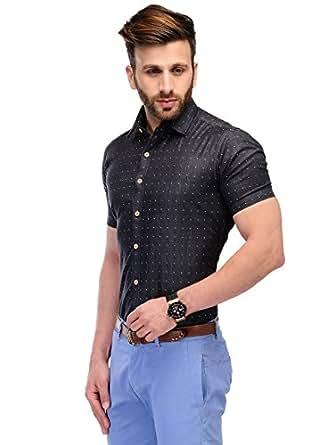 Edjoe Men's Black & Grey Denim Slim Fit half sleeve Casual/Party Wear shirt