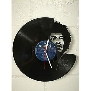 Wanduhr aus Vinyl Schallplattenuhr mit Jimi Hendrix Motiv upcycling design Uhr Wand-deko vintage-Uhr Wand-Dekoration retro-Uhr