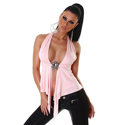 Damen Top Shirt Neckholder Bauchfrei Rückenfrei Bluse Ärmellos V-Ausschnitt 34 36 38 Rosa