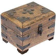 Caja de madera con candado de BRYNNBERG | Modelo: Sir Henry |Cofre del tesoro pirata de estilo vintage | Hecha a mano | Diseño retro |