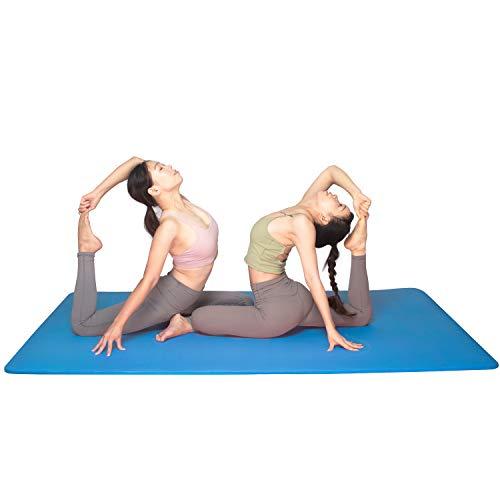 YUREN Doppelte Yogamatte Extra Breit 200 x 130 cm Gymnastikmatte Gros 15mm Ftness Matte Ubungsmatte Weich Dicke Yoga Matte XL