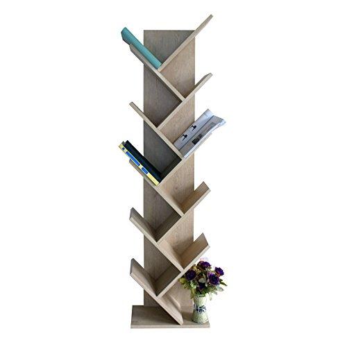 Mobili rebecca® scaffale libreria 10 ripiani legno rovere chiaro design moderno sala camera da letto (cod. re4792)