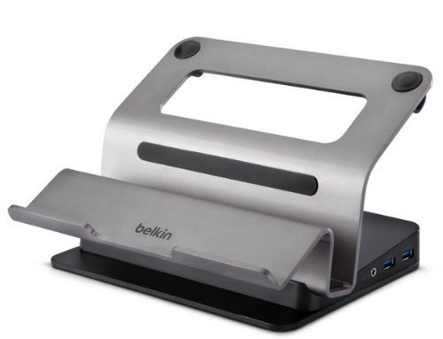 Belkin USB 3.0 Dual Video Dockingstation mit erhöhtem Loft-Stand (für Laptops/Ultrabooks/MacBooks bis 15.6 Zoll mit USB 3.0 Ladeanschluss) silber