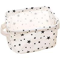 Oyfel Cesta de almacenaje Caja Almacenaje Pocuh Beige Estrellas 1pcs, 2, 20 * 17 * 12.5cm