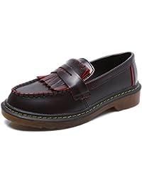 smilun Mocasín Borla de flecos Classic zapatos de barco de la dama Flats