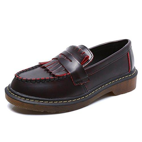 Smilun - Mocassini, scarpe da donna per barca con frangia, ballerine classiche Red