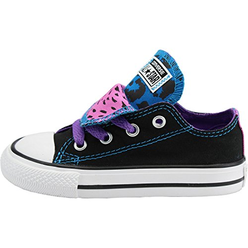 Converse Chuck Taylor All Star Double Tongue Infant Black Textile Trainers Black