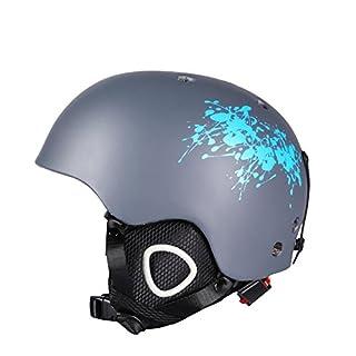 Asdomo Helm für Schneesport, zum Skifahren und Snowboarden, leicht, verstellbar, für Herren, Damen und Jugendliche, Grau / Blau, M