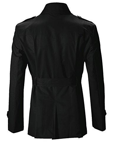 FLATSEVEN Herren Slim Fit Designer Lässige Trench Coat Schwarz