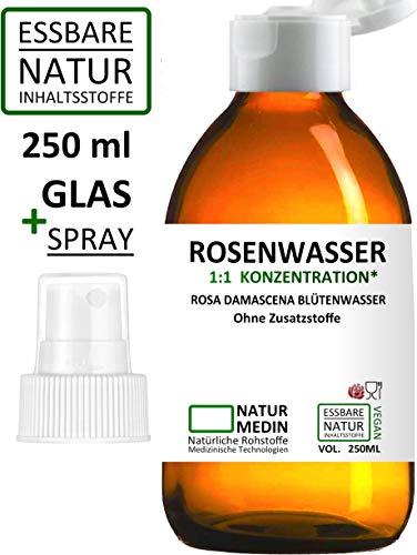 ROSENWASSER 250-ml SPRAY GLAS Gesichtswasser, 100% naturrein, 1:1 Konzentration, Rosa damascena Blüttenwasser, ohne Zusatzstoffe, Spray Glasflasche, nachhaltig