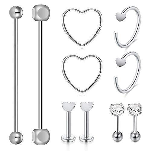 AceFun 10 Pieces Stainless Steel Industrial Barbell Lip Cartilage Stud Earrings Hoop Tragus Helix Ear Piercing Body Silver Jewelry