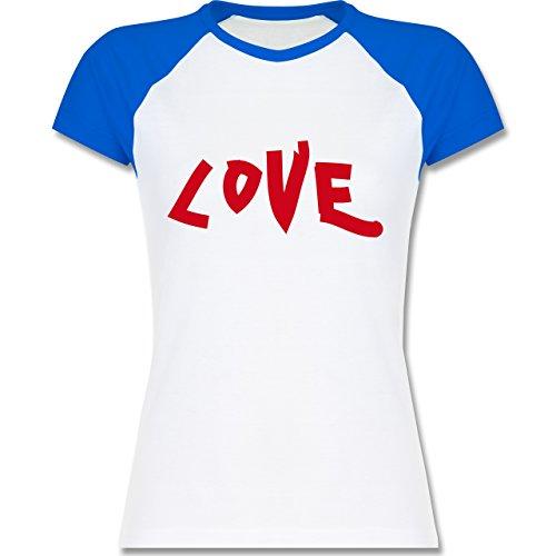Romantisch - Love - zweifarbiges Baseballshirt / Raglan T-Shirt für Damen Weiß/Royalblau