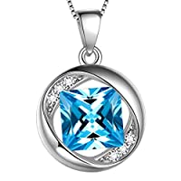 Aurora Tears March Birthstone Necklace 925 Sterling Silver Blue Aquamarine Birth Stone Pendant Jewellery Gifts for Women and Girls DP0029M