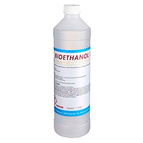 TOP FIRE - 1 Liter Bioethanol 100% (1 x 1l), Brenndauer ca. 2 Stunden pro Liter, Ethanol Made in Germany für den sicheren Hausgebrauch