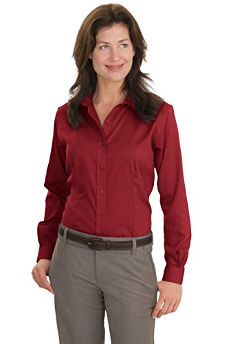 Red House da donna Nailhead non IRON Button Down Camicia Deep Red