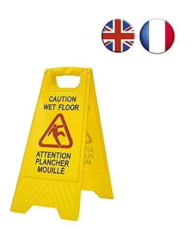 Panneau d'avertissement sol humide « Caution wet floor - Attention plancher mouillé ». En anglais et en français. Haute visibilité pour éviter les