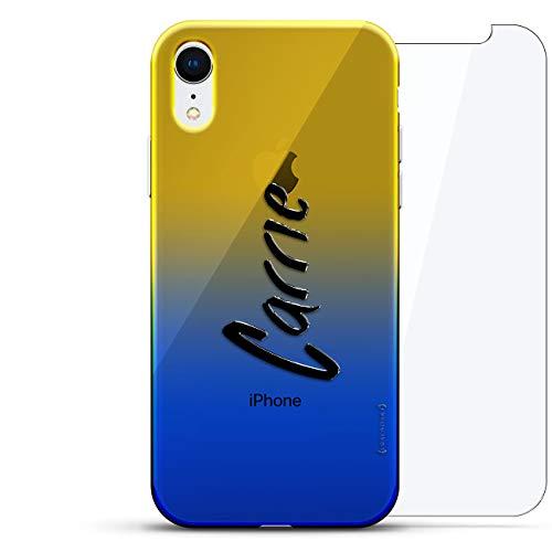 Luxendary Designer Schutzhülle für iPhone XR, 3D-Druck, modisch, hochwertig, Chamäleon-Effekt, 360 schützendes Glas, Dämmerungsblau Tamara, Name: Carrie, Handschrift-Stil, Blau (Dusk Blue)