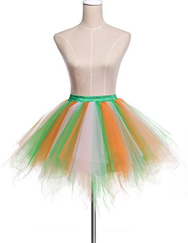 Bridesmay Donna Breve Partito Tutu Vintage Ballerina Gonna Cosplay Sottogonne Green-White-Orange