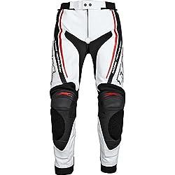 Motocicleta Pantalones FLM FLM Sports piel combinado Pantalón 1.0 blanco/rojo 50
