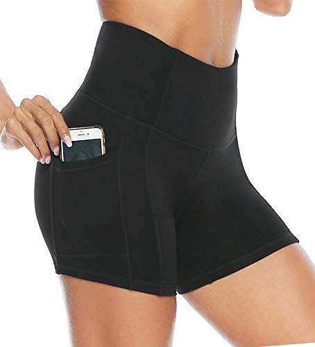 hose Damen Leggins Kurz Radlerhose Blickdicht High Waist mit Taschen Sommer Yoga Leggings Yogahose für Training Lauf Gym Yoga Fitness Schwarz S ()