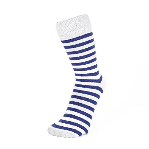 Marine Blau und Weiß Dünne gestreifte Socken (Größe: 4-7) (Weiße Gestreifte Socken)