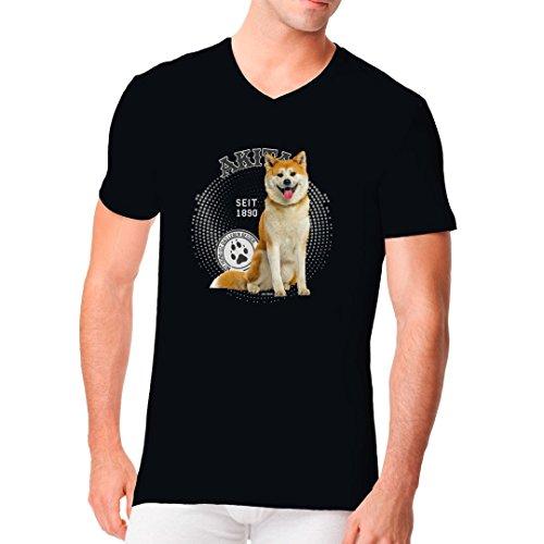 Im-Shirt - Rassehund Motiv: Akita Foto cooles Fun Men V-Neck - verschiedene Farben Schwarz