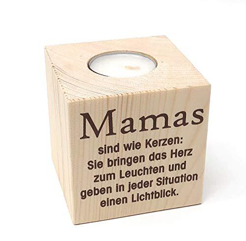 KATINGA Teelichthalter Mama 8cm - toller Kerzenständer für Mama zu Weihnachten, Geburtstag oder als schönes Geschenk zu Muttertag (Mama Text)
