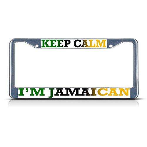 Keep Calm I'm Jamaican Metall-Kennzeichenrahmen mit Zwei Löchern perfekt für Männer und Frauen