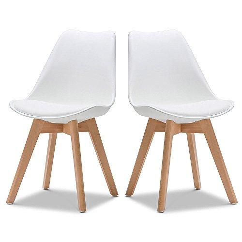 Ego Design Chaise Norvegia Blanc Pieds Bois Lot de 2