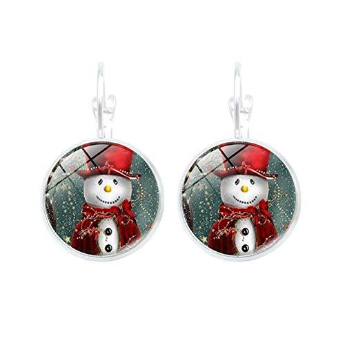 Yu xin jewelry Serie de Navidad Pendiente muñeco de nieve Tiempo Joya de gemas Cabujón simple (2)