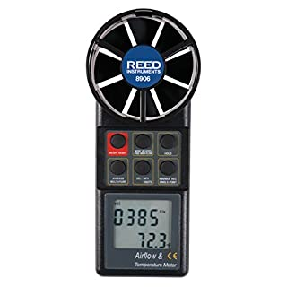 REED Instruments 8906 Vane Thermo-Anemometer, CFM (Air Volume) with NIST Calibration Certificate