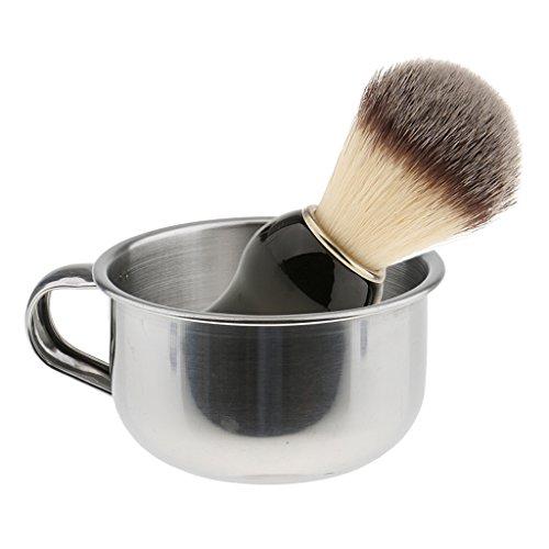 MagiDeal Blaireau à Rasage en Poils Blaireau / Brosse à Raser + Bol / Tasse de Savon à Barbe en Acier Inox avec Poignet - Kit Rasage Manuel pour Homme Barbier - A