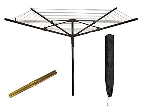 Livivo® - Tendedero de jardín rotatorio con 4 brazos plegables, con 45 m de cordel, pica para el suelo y cubierta, negro