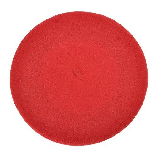 ZLYC clásico francés artista de las mujeres boina sombrero (Rojo)
