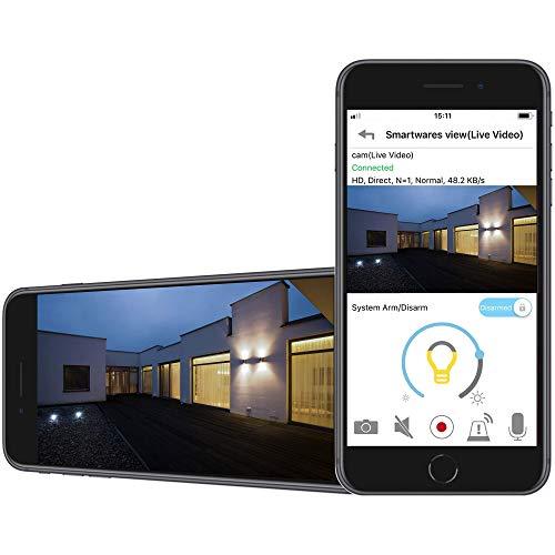 41ulVffdg-L [Bon Plan Netatmo] Smartwares Guardian CIP-39901 - Caméra de surveillance connectée avec éclairage intégré, alarme et audio 2 Voies