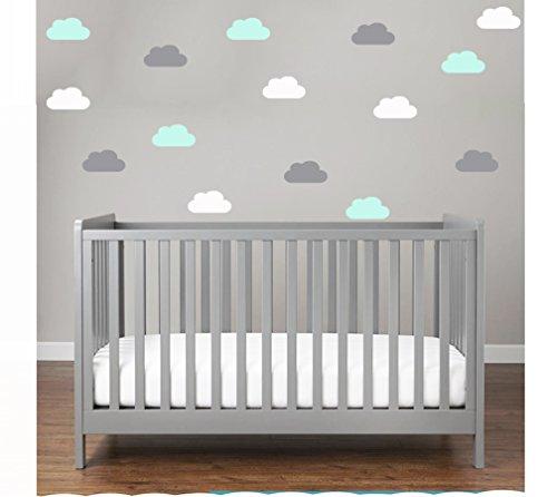 et Bunte 30x Wolken Wandtattoo Wandaufkleber Sticker Wölkchen Wand Himmel Baby (Mint) ()