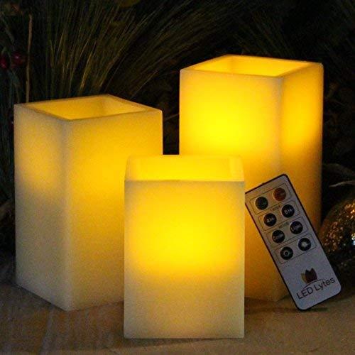LED Lytes Velas de parpadeo Cera de marfil y llama amarilla
