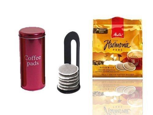 Melitta Harmonie KaffeePads NaturMild für Senseo +Padheber und Paddose pink