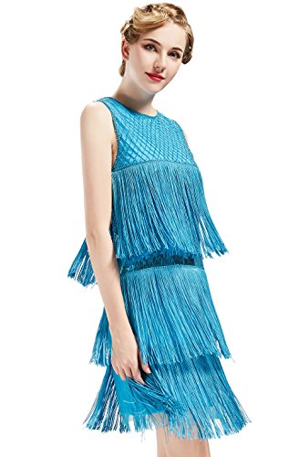 eston Kleid Damen Knielang Cocotail Party Kleid 20er Jahre Flapper Damen Gatsby Kostüm Kleid (Blau, L) (Tanz Motto Party Kostüme)