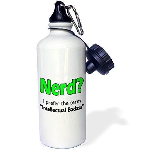 Sports Water Bottle Gift for Kids Girl Boy, Nerd Intellectual Badass Lime Green Stainless Steel Water Bottle for School Office Travel 21oz Lime Green Bottle