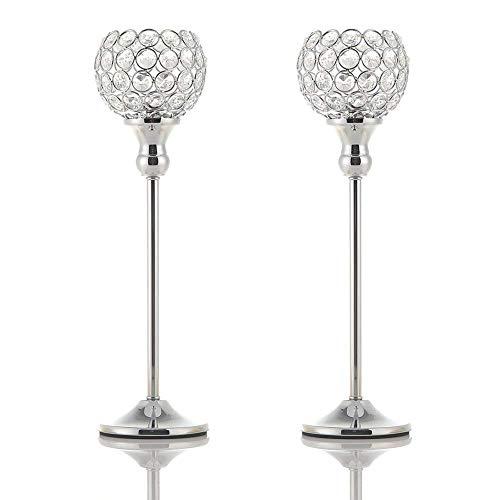 VINCIGANT Silber Kristall Teelichthalter Kerzenhalter für Jubiläums Feier Couchtisch Dekoration Hochzeit sgeschenk,35cm&35cm Höhe