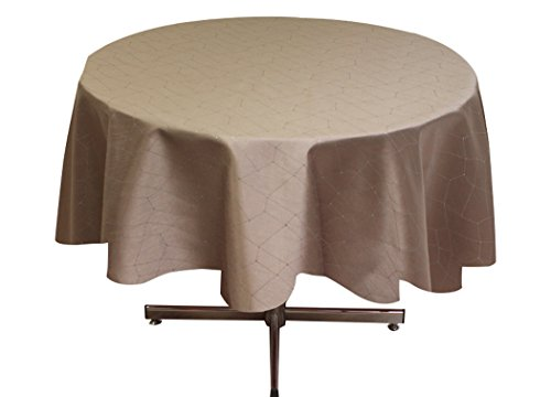 Soleil d'Ocre 815413 Fiesta Nappe Ronde Impression Argent Polyester Ecru/Taupe 180 x 180 cm