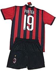 9a023eaf3 Completo PIATEK Milan Ufficiale 2018-19 Bambino Uomo Adulto Maglia +  Pantaloncini Pantaloncino Completino Home