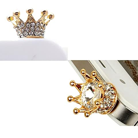 Vandot 3D Crown Bling Strass Staub Schutz Krone Glitter Headset 3.5 mm Staubschutz Luxus Glitzer Diamant Kristall Stöpsel Anti-Dust Plug Anti-Staub-Stecker Kappe Headset Earphone Buchse Klinke für Smartphones Tablet, iPhone 6 4.7 Zoll, iPhone 6 Plus, Samsung i9600, S5 Mini, Note 4, LG G2 G3 Mini,HTC M4 M7 M8,Sony Z1 Z2 Z3 Mini, iPad air, iPad 5 6,Moto G,HTC One, iPhone 3 3GS 4 4S 5, iPad 1 2 3 4 mini, Samsung Note 2 N7100, galaxy S3 i9300, i8190,S2 i9100,T989 , Samsung Galaxy S4 i9500,LG Nexus 4 ,P880,HTC one X,Nokia Lumia 920 928 520 720, Sony L36h(Xperia Z SP L),Samsung Tab 10.1'' P7510 P7300 P6800 P6200 P3100 - Gold