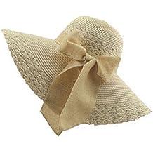 Moollyfox Sombreros de Paja de Sol Elegancia Playa Gorra Para Mujer Ala Ancha Sombrero de Verano Beige