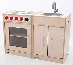 TickiT 76124 - Juego de Cocina y Fregadero de Madera para niños, Color Madera Natural