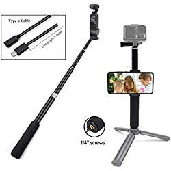 STARTRC OSMO Pocket Perche Portable Selfie Stick ,Extensible Selfie bâton +Type C Câble de Données USB avec Support DJI OSMO Pocket Trépied Accessoires