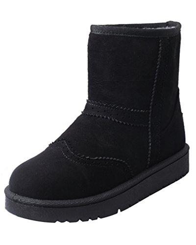 Minetom Femmes Hiver Chaud Bottes Mode Bottines Coton Chaussures Non Glisser Sur Talon Plat Bottes De Neige