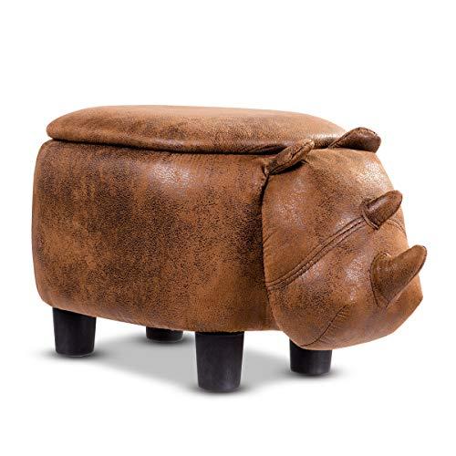 COSTWAY Tierhocker für Kinder, Kinderhocker gepolstert, Sitzhocker mit Stauraum, Polsterhocker mit Deckel, Sitzbank Fußbank Aufbewahrungsbox mit Füßen Tier-Design (Nashorn-Design)