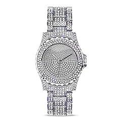 Idea Regalo - Lussuoso orologio femminile al quarzo da polso con brillanti di OUMOSI, decorazione vintage con strass Silver